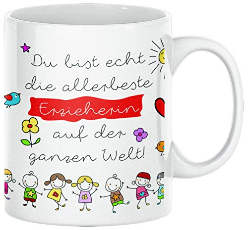 TassenSachen Danke-Tasse Du bist echt die allerbeste Erzieherin auf der ganzen Welt- zum Kindergartenabschied für Kindergärtnerin mit Grußkarte - Kaffeetasse Teetasse ca. 330 ml