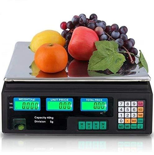 Maxell Power BASCULA BALANZA Comercial para Pesar Fruta VERDURA Peso 40KG Suma BATERIA Y 220V