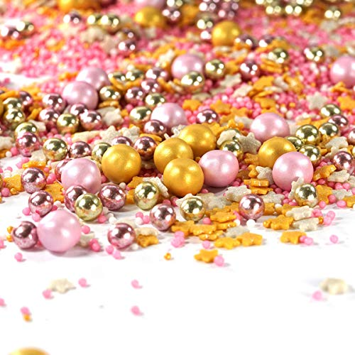 mySprinkles - Rastrillo de azúcar de Rapunzel rosa dorado, perfecto para hornear para cumpleaños infantiles, bodas, San Valentín, corazones, tartas, cupcakes, muffins Cakepops, 90G