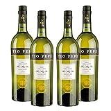 Palomino Fino Tio Pepe - Vino blanco de 75 cl - D.O. Jerez de la Frontera - Bodegas Gonzalez Byass (Pack de 4 botellas)