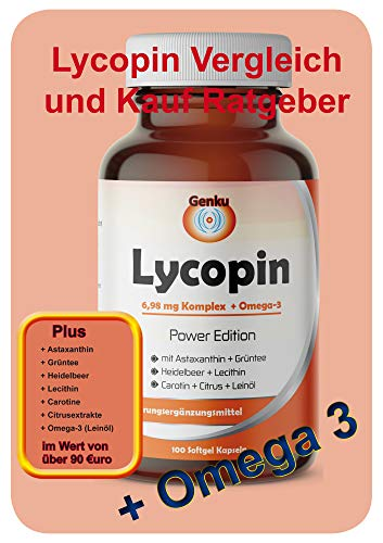 Genku´s 6,98mg Lycopin Komplex hochdosiert + Omega 3 + Grüntee + Heidelbeer 100 Softgel Kapseln