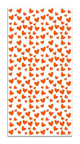 Panorama Agatha Ruiz de la Prada Alfombra Vinílica Estampados Básicos Corazones Naranjas y Blancos 60x110cm - Alfombra Cocina Vinilo - Alfombra Salón Antideslizante e Ignífuga - Alfombras Grandes