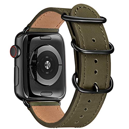 BesBand Armband Kompatibel mit Apple Watch Armband 42mm 44mm 38mm 40mm,Top Leathe Ersatz-Uhren armbänder für das iWatch Band Serie 5/4/3/2/1,Edition Frauen Männer(42mm 44mm,Armee grün&schwarz)