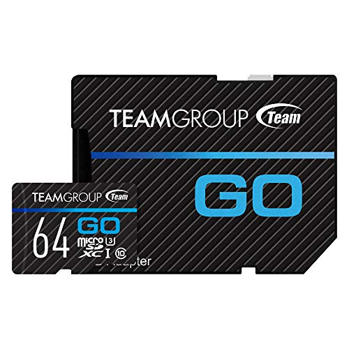 TEAMGROUP GO Card 64GB Micro SD Card for GoPro & Action Cameras, MicroSDXC UHS-I U3 High Speed Flash Memory Card with Adapter for Outdoor, Sports, 4K Shooting TGUSDX64GU303