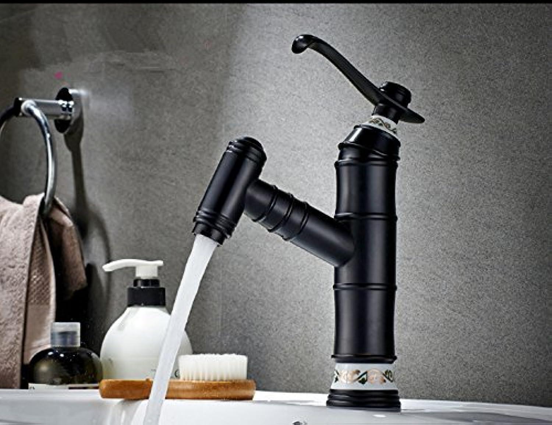 Bijjaladeva Wasserhahn Bad Wasserfall Mischbatterie Waschbecken Armatur für Ziehen Sie Alle Kupfer Wasserhahn Warmes und Kaltes einziehbaren Einzelne Bohrung Schwarz Antik