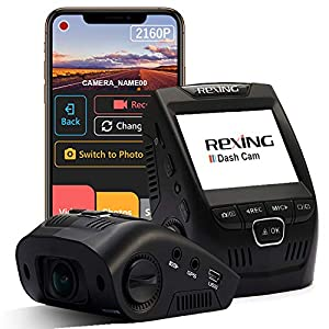 "Rexing V1-4K Ultra HD Car Dash Cam 2.4"" LCD Screen, Wi-Fi, 170° Wide Angle Dashboard Camera Recorder with G-Sensor, WDR, Loop Recording, Supercapacitor, Mobile App, 256GB Supported"