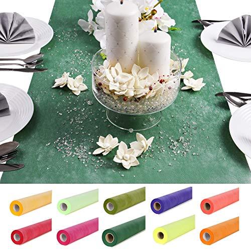 Roban Fashion Vlies Tischläufer Tischband wasserdicht 50cm Breit 18 Meter Lange deko-vlies Dekostoff Hochzeit Kommunion Tischdekoration Dunkelgrün
