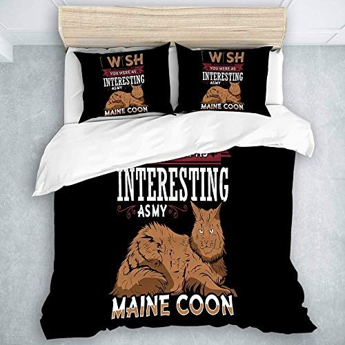 Set copripiumino, gatto Maine Coon, 1 copripiumino + 2 fodere per cuscino 3 pezzi