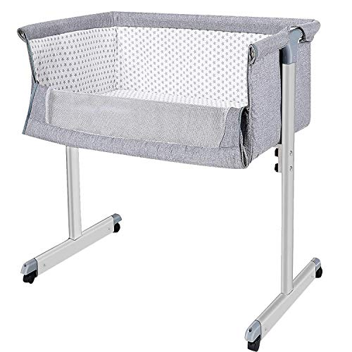 Baby Bassinet,The B-Style TB Bedside Sleeper, Baby Bed to Bed, Babies Crib Bed, Adjustable Portable Bed for Infant/Baby Boy/Baby Girl/Newborn (Grey)