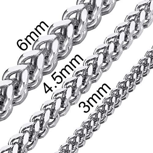 ChainsHouse 61cm Collar Cubano 316L Acero Inoxidable Hombres Caballeros Finos eslabones 3mm Ancho Regalo Joya San Valentín Cumpleaños Aniversario