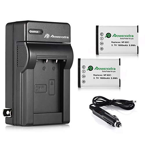 Powerextra 2 Pack Replacement Sony NP-BX1 Li-ion Battery and Charger Compatible with Sony NP-BX1/M8 and Sony Cyber-Shot DSC-RX100, DSC-RX100 II, DSC-RX100M II, DSC-RX100 III, DSC-RX100 V