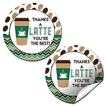 Thanks A Latte Thank You Sticker Labels 40 2  Party Circle Stickers by AmandaCreation Great for Party Favors Envelope Seals & Goodie Bags