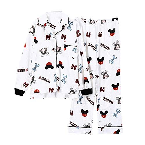 LLSS Ocio Ropa de Dormir de algodón Pijamas Ropa de Mujer Tops de Manga Larga Conjunto de Pijamas de Mujer Conjuntos de Noche Traje de Noche Ropa de hogar Tamaño Grande
