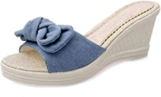Inlefen Women's Slippers Denim Bow Casual Wedges Home Outdoor Cute Sandals