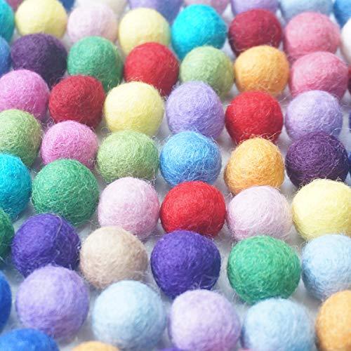 Gnognauq Bolas de fieltro sólidas, 100 unidades, 2 cm de diámetro, 20 colores surtidos