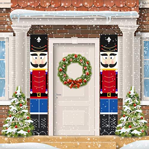 Nutcracker Christmas Decorations - Outdoor Xmas Decor - Life Size Soldier Model Nutcracker Banners for Front Door Porch Garden Indoor Exterior Kids Party