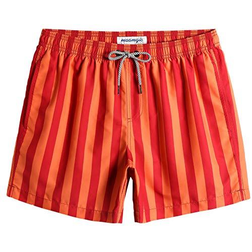MaaMgic Shorts de Baño para Hombre Shorts de Playa Traje de Bañode Secado Rápido para Vacaciones-14 cm, Rayas-Naranja Rojo,M