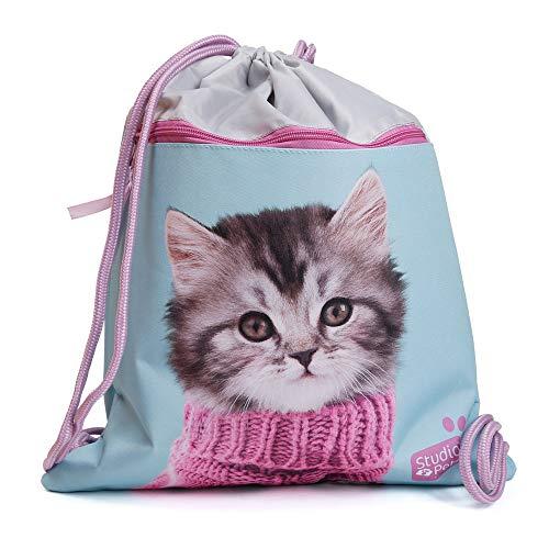 Premium Kinder Turnbeutel/SPORTBEUTEL 43x34 cm - Studio Pets - Baby Katze Pulli