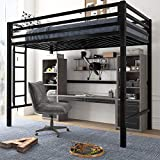 Amolife Twin Loft Bed Frame with Stairs, Heavy Duty Bed Frame with Fullength Guardrail, Space-Saving Design, No Box Spring Needed, Matte Black