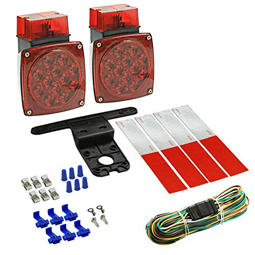 Wellmax 12V LED Trailer Lights Kit, Submersible Tail Lights for RV, Marine, Boat, Trailer Over 80 inches