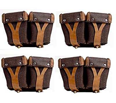 Ultimate Arms Gear 4 Pack Surplus Original Russian Military Mosin Nagant Leather Dual Stripper Clips Pouch 7.62X54R M38 M44 91/30 1891 91 30 Rifle