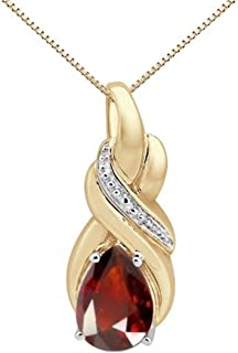 1.80Ct Pear Shaped Garnet and Diamond Pendant in 10K Yellow Gold