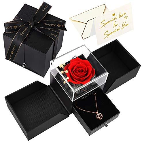 Beetest Rosa Eterna, Regalo Dia de la Madre, Flores Naturales con Collar de Te Amo en 100 Idiomas, Rosa Preservada para Romántico Aniversario Regalo, Regalo Cumpleaños Mujer/ Madre, Paquete de Regalo