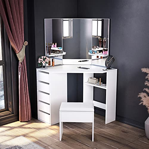 ELEGANT Corner Dressing Table Set, Makeup Desk with 3 Angle Mirror and 5 Drawers, White Corner Desk with Cushioned Stool, Large Storage Vanity Table for Girls