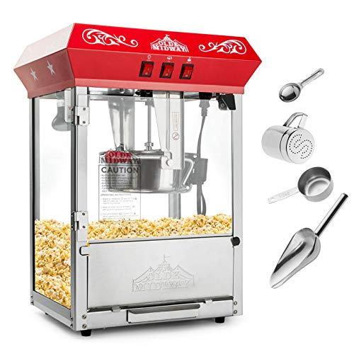 Olde Midway Bar Style Popcorn Machine Maker Popper with 8-Ounce Kettle - Black