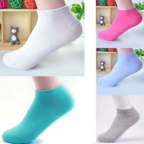 iTemer Gift Box 5 Pairs Womens Girls Cotton Ankle Socks Candy Colors No Show Low cut Socks Novelty Crew Socks for Sports, Fitness, Everyday Use