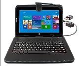 DURAGADGET Etui Aspect Cuir Noir avec Clavier intégré AZERTY (français) pour Microsoft Surface Pro et RT 1 et 2 tablettes 10,6' + Adaptateur USB & Stylet Tactile Bonus - Garantie 2 Ans