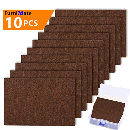 Large Felt Furniture Pads 10 pcs Pack 6'x 4' Big Furniture Pads Felt Pads Large Heavy Duty 5mm Thick Brown Anti Scratch Floor Protector for Hardwood Floor and 20 Rubber Bumpers