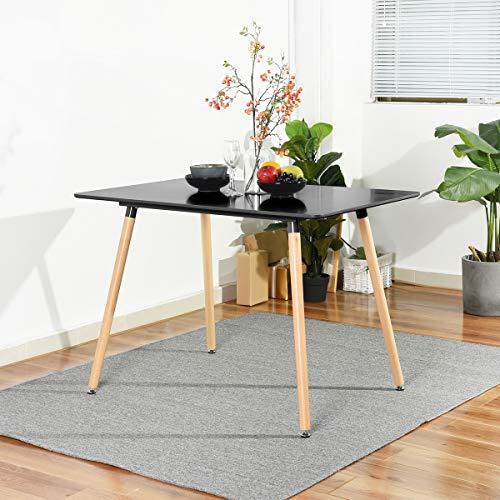 Brunish 1 Esstisch, rechteckig, mit Füßen aus Holz, Küchentisch, modern, Büro, Esszimmer, Büro
