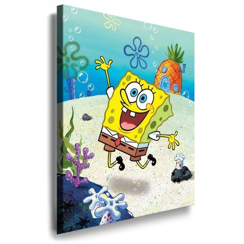 Spongebob - Schwammkopf Kinderzimmer_Bild - 100x70cm k. Poster ! Bild fertig auf Keilrahmen ! Pop Art Gemälde Kunstdrucke, Wandbilder, Bilder zur Dekoration - Deko / Bilder für Kinderzimmer - Babyzimmer
