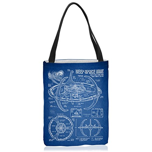 VOID Deep Space Nine Tasche Einkaufs-Beutel Polyester Shopper Einkaufs-Tasche Bag Trek Trekkie Star, Polyestertasche Größe:Medium