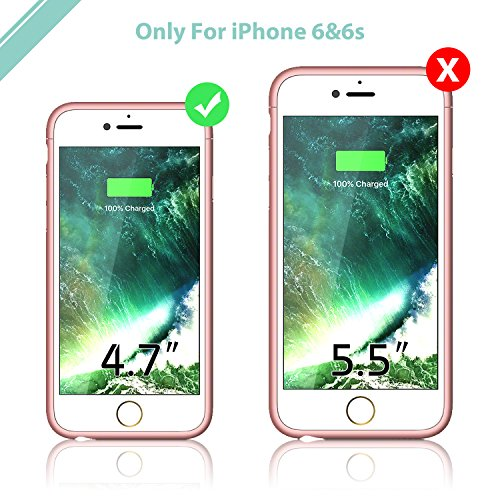 iPhone 6 6s Battery Case,Smiphee 2500mAh Portable Charging Case for iPhone 6 6s(4.7 inch) Extended Battery Juice Pack/Lightning Cable Input Mode-(Rose Gold)