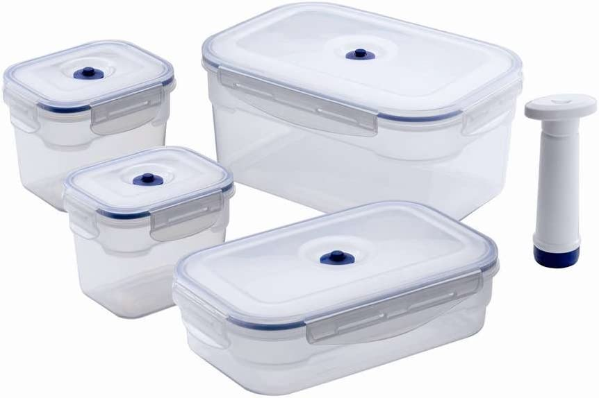 Aspifresh Transparent ACC926 Flavia-Juego de recipientes rectangulares para Alimentos (3,5 L, 1,4 L, 750 ml, 4 Unidades), Polypropylene, No Applicable