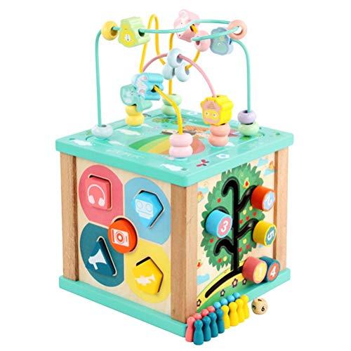 BSTCAR Juguetes de madera de los cubos de la actividad, centro educativo multifuncional con laberinto de la cuenta, clasificación y reconocimiento de color actividades del bebé juguete