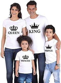 84a769bfcea1a Famille Equipée Été T-Shirt King Queen Prince Princess Tenue Maman Papa  Fille Fils Col
