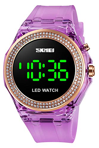 Damen Uhr Kristall Mode Schmuck Elegant Diamant Armbanduhr Frauen Digital LED Quarzuhr 5 ATM Wasserdicht Casual Lila Rosa Blau Weiß Schwarz Sportuhr Einfach Klassisch