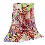 COMVIP Mujeres Las bufandas lechuza imprimió la historieta Sheer Beach Summer Long Wrap 155cm * 50cm style2 rojo