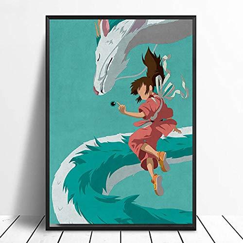 wZUN Impresión de decoración del hogar película de Estilo nórdico Spirited Away Pintura Arte de Pared Lienzo Cuadro Acuarela póster 60x80 Sin Marco