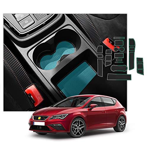 SXCY para Seat Leon Cupra 5F alfombrillas de goma para consola central antideslizantes, para reposabrazos de coche, soporte para bebidas, estera de almacenamiento interiores accesorios blanco