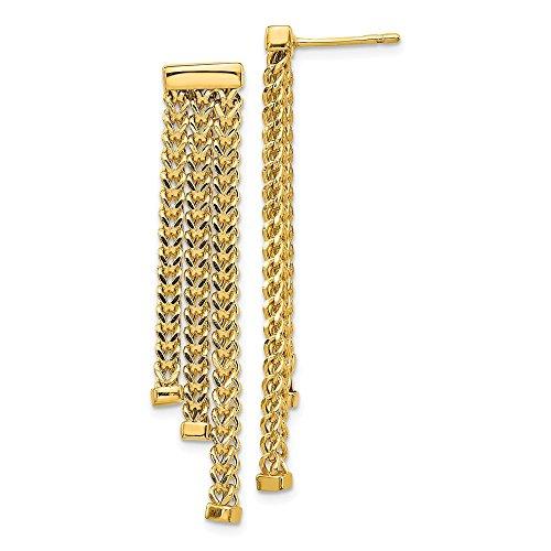 14k oro giallo lucido diamante taglio 3 Strand orecchini pendenti di Leslie