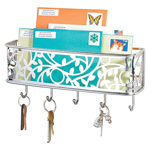 mDesign Wall Mount Metal Entryway Storage Organizer Mail Sorter Basket with 5 Hooks - Letter, Magazine, Coat, Leash and Key Holder for Entryway, Mudroom, Hallway, Kitchen, Office - Chrome