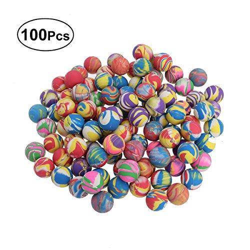 LUOEM 100 PZ 32 MM Bambini Misto Palline Elastiche Colore Luminoso Mescolatrice Giocattolo Palle di Lattice del Fumetto Palle di Rimbalzo Natale Regalo di Compleanno per Bambini (Colori Assortiti)
