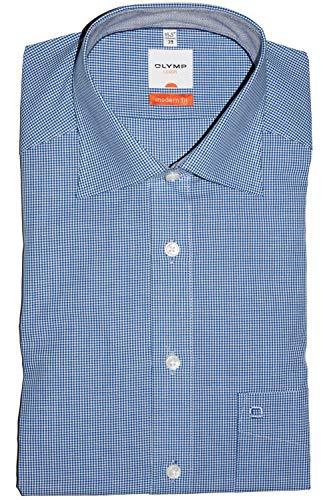 OLYMP Luxor modern fit Hemd Halbarm New Kent Kragen Karo dunkelblau (Size 42)