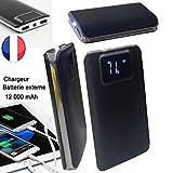 PRISKY Chargeur/Batterie Externe DE Secours 2USB 12000mAh Noir- Caoutchouc Gel Tapis Lavable pour Sony Xperia Z1 Compact
