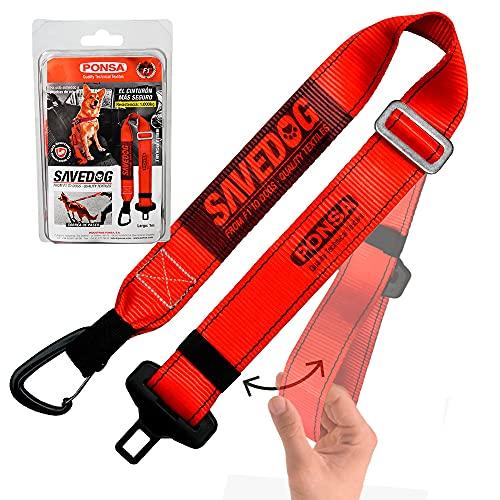 SAVEDOG Cinturón Seguridad para Perros. El cinturón Correa más Seguro del Mercado para el Coche, resiste 1.000kg. Cumple con la ISO 27955:2010.Ref.027172050102
