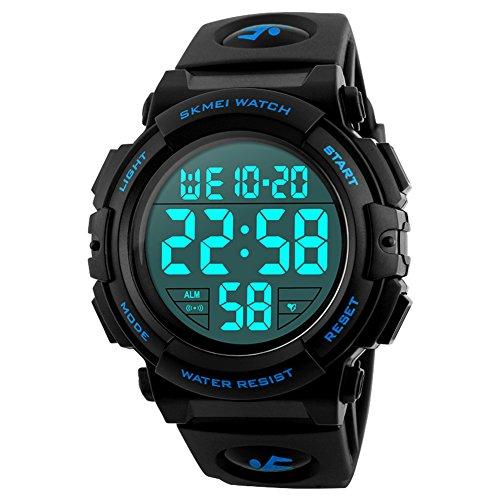 Reloj Deportivo Digital para Hombre, para Uso al Aire Libre o al Hacer Ejercicio, Resistente al Agua a 5 ATM y de Estilo Militar, LED y Alarma (Azul)